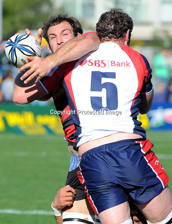 Canterbury`s captain George Whitelock is tackled by Makos captain Chris Jack            during their ITM Cup - Tasman vs Canterbury at Trafalgar Park, Nelson. Saturday 21 August 2010. Nelson, New Zealand. Photo: Chris Symes/PHOTOSPORT