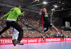 11.03.2016, Leipzig, GER, Handball Länderspiel, Deutschland vs Katar, Herren, im Bild Patrick Groetzki (GER #24) beim Wurf gegen Ahmed Magdi (QAT #22) // during the men's Handball international Friendlies between Germany and Qatar in Leipzig, Germany on 2016/03/11. EXPA Pictures © 2016, PhotoCredit: EXPA/ Eibner-Pressefoto/ Modla<br /> <br /> *****ATTENTION - OUT of GER*****