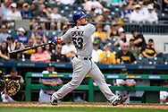 May 28, 2018 - Pittsburgh, PA, U.S. - PITTSBURGH, PA - MAY 28:   Chicago Cubs catcher Chris Gimenez (53) hits a single in the fourth inning during an MLB game between the Pittsburgh Pirates and Chicago Cubs on May 28, 2018 at PNC Park in Pittsburgh, PA. (Photo by Shelley Lipton/Icon Sportswire) (Credit Image: © Shelley Lipton/Icon SMI via ZUMA Press)