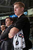 KELOWNA, CANADA - DECEMBER 6: Brendan Hait, equipment manager for the Kelowna Rockets stands on the bench against the Everett Silvertips on December 6, 2013 at Prospera Place in Kelowna, British Columbia, Canada.   (Photo by Marissa Baecker/Shoot the Breeze)  ***  Local Caption  ***