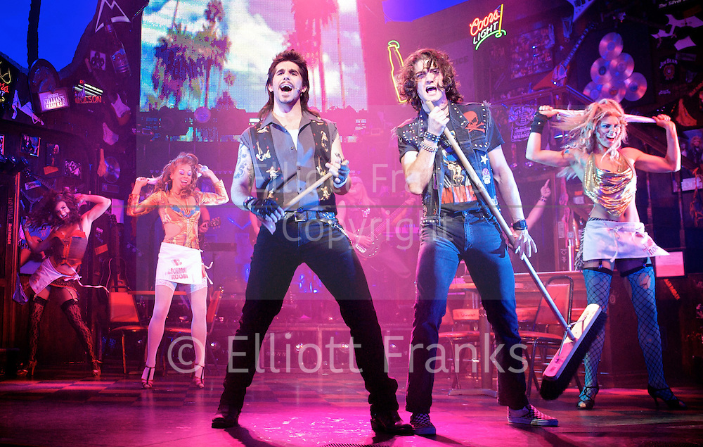 Rock of Ages<br /> by Chris D'Arienzo<br /> directed by Kristin Hanggi<br /> Choreography by Kelly Devine<br /> Press photocall<br /> 14th September 2011 <br /> at The Shaftesbury Theatre, London, Great Britain <br /> <br /> Simon Lipkin (as Lonny)<br /> Oliver Tompsett (as Drew)<br /> <br /> Photograph by Elliott Franks