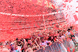Crowds during Capital's Summertime Ball with Vodafone at Wembley Stadium, London. This summer's hottest artists performed live for 80,000 Capital listeners at Wembley Stadium at the UK's biggest summer party. Performers included Camila Cabello, Shawn Mendes, Rita Ora, Charlie Puth, Jess Glyne, Craig David, Anne-Marie, Rudimental, Sean Paul, Clean Bandit, James Arthur, Sigala, Years & Years, Jax Jones, Raye, Jonas Blue, Mabel, Stefflon Don, Yungen and G-Eazy