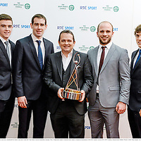 21 December 2013; Clare players, who were named the RTÉ Sports Team of the Year, from left, Tony Kelly, Patrick Donnellan, manager Davy Fitzgerald, Donal O'Donovan and Shane O'Donnell in attendance at the RTÉ Sports Awards 2013. RTÉ Studios, Donnybrook, Dublin. Picture credit: Paul Mohan / SPORTSFILE