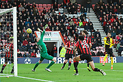 Goal - Roberto Pereyra (37) of Watford scores a goal beating Mark Travers (42) of AFC Bournemouth to give a 0-3 lead during the Premier League match between Bournemouth and Watford at the Vitality Stadium, Bournemouth, England on 12 January 2020.
