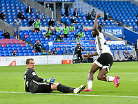 Football - 2019 / 2020 Championship - Play-off semi-final - 1st leg - Cardiff City vs Fulham<br /> <br /> Josh Onomah of Fulham celebrates scoring his team's first goal<br /> in a match played with no crowd due to Covid 19 coronavirus emergency regulations, in an almost empty ground, at the Cardiff City Stadium<br /> <br /> COLORSPORT/WINSTON BYNORTH