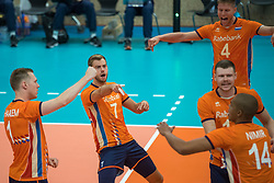 08-09-2018 NED: Netherlands - Argentina, Ede<br /> Second match of Gelderland Cup / Daan van Haarlem #1 of Netherlands, Gijs Jorna #7 of Netherlands, Thijs ter Horst #4 of Netherlands, Michaël Parkinson #17 of Netherlands