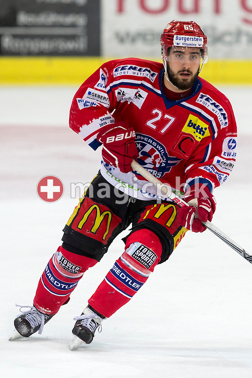 Rapperswil-Jona Lakers defenseman Elia Auriemma is pictured during the third Elite B 1/2 final Playoff ice hockey game between Rapperswil-Jona Lakers and EHC Visp held at the SGKB Arena in Rapperswil, Switzerland, Friday, Mar. 3, 2017. (Photo by Patrick B. Kraemer / MAGICPBK)
