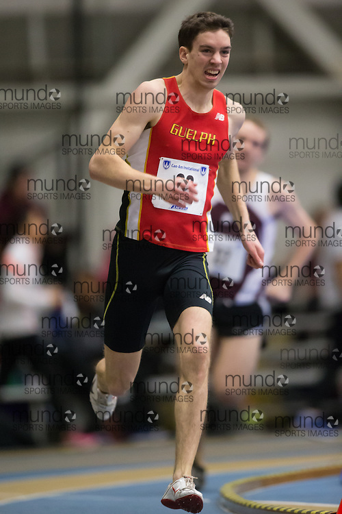 Seb Saville of the University of Guelph  competes at the 2014 CanAm Track and Field meet in Windsor Ontario, Saturday,  January 11, 2014.<br /> Mundo Sport Images/ Geoff Robins
