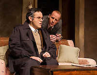"""Jason Plourde (Stone) and William Allgood (Hallett) during dress rehearsal for """"The Business of Murder"""" at the Winnipesaukee Playhouse on Wednesday.  (Karen Bobotas/for the Laconia Daily Sun)"""