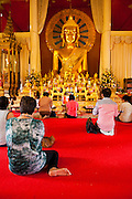 24 JUNE 2011 - CHIANG MAI, THAILAND: People pray at Wat Phra Singh in Chiang Mai, Thailand. Wat Phra Singh is the most revered Buddhist temple in Chiang Mai because it houses the Phra Singh (Lion Buddha). The exact origin of the Buddha is unknown though it is known to have resided in Buddhist temples in Sukothai, Ayuthaya, Chiang Rai and Luang Prabang before coming to Chiang Mai in approximately 1360.  PHOTO BY JACK KURTZ