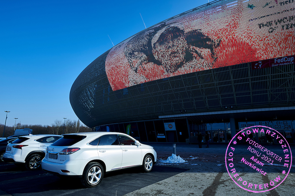 Krakow Arena with Lexus official car during First Day of the Fed Cup / World Group 1st round tennis match between Poland and Russia at Tauron Krakow Arena on February 7, 2015 in Cracow, Poland.<br /> <br /> Poland, Cracow, February 7, 2015<br /> <br /> Picture also available in RAW (NEF) or TIFF format on special request.<br /> <br /> For editorial use only. Any commercial or promotional use requires permission.<br /> <br /> Adam Nurkiewicz declares that he has no rights to the image of people at the photographs of his authorship.<br /> <br /> Mandatory credit:<br /> Photo by &copy; Adam Nurkiewicz / Mediasport
