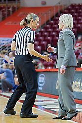 03 January 2014:  Referee Lisa Mattingly and Head Coach Barb Smith have a quick chat during an NCAA women's basketball game between the Drake Bulldogs and the Illinois Sate Redbirds at Redbird Arena in Normal IL