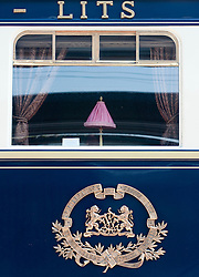 Detail of Orient Express train luxury railway carriage