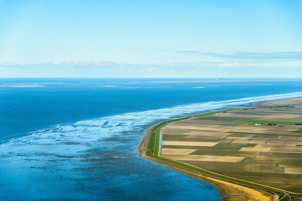Nederland, Friesland, Gemeente Franekeradeel, 28-02-2016; Zeedijk waddenzee, wad bij hoogwater gezien naar Terschelling, ter hoogte van Koehool. Vlakte van Oosterbierum.<br /> Vlakte van Oosterbierum, northern Friesland, tidal flat.<br /> <br /> luchtfoto (toeslag op standard tarieven);<br /> aerial photo (additional fee required);<br /> copyright foto/photo Siebe Swart