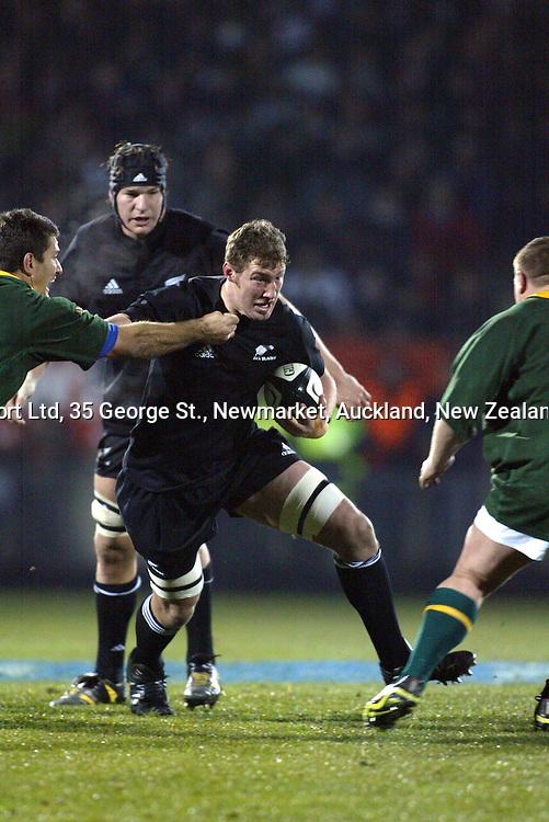 9 August 2003, International Rugby Union, Phillips Tri-Nations, All Blacks v South Africa, Carisbrook, Dunedin, New Zealand.<br />Chris Jack. All Blacks won 19-11<br />Pic: Sandra Teddy/Photosport