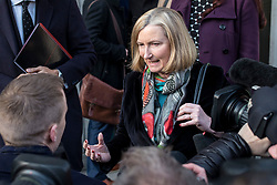 "© Licensed to London News Pictures. 21/01/2019. London, UK. Conservative MP Sarah Wollaston speaks to the media after leaving a meeting in the Cabinet Office. Prime Minister Theresa May will update MPs on her Brexit ""Plan B"" this afternoon. Photo credit: Rob Pinney/LNP"