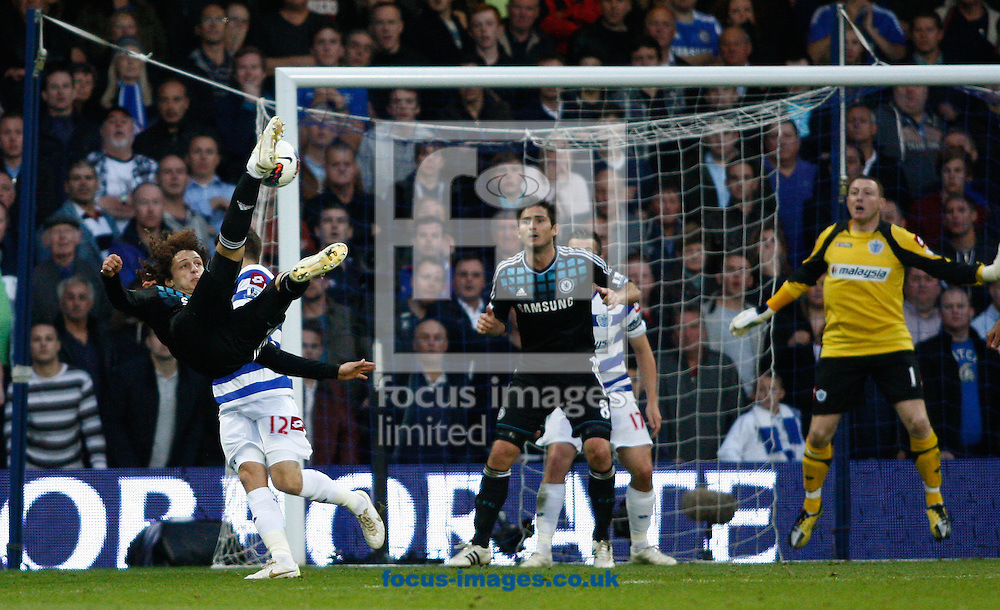 Picture by Andrew Tobin/Focus Images Ltd. 07710 761829. 23/10/11. David Luiz (4) of Chelsea tries an overhead kick during the Barclays Premier League match between QPR and Chelsea at Loftus Road, London.