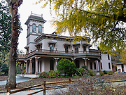 Bidwell Mansion State Historic Park is a beautiful, three-story, 26 room Victorian House Museum and memorial to John and Annie Bidwell in Chico, California. Beginning in 1865 at his Rancho del Arroyo Chico, John Bidwell built the Italianate style brick mansion with modern plumbing, flush toilets, gas lighting, and wall to wall carpeting. John Bidwell was born on the east coast to a poor farming family in 1819. He eventually became a key figure in California history, famous as a true pioneer, statesman, politician, prohibitionist, and philanthropist. John Bidwell became wealthy from gold, participated in the Bear Flag Revolt, lobbied in Washington D.C. for California's statehood, advanced agriculture, was nominated for US President, and founded the town of Chico. Annie Ellicott Kennedy Bidwell, the daughter of a socially prominent, high ranking Washington official, was deeply religious and committed to the suffrage and prohibition movements. After their marriage in 1868, Bidwell Mansion became the social and cultural center of the upper Sacramento Valley. General John Bidwell died in 1900, followed by Annie in 1918. Now a museum, Bidwell Mansion SHP is California Historical Landmark #329 and is listed on the National Register of Historic Places. Address: 525 Esplanade, Chico, California, USA 95926.