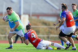 during rugby match between National team of Slovenia (green-blue) and Serbia (red-white) at EUROPEAN NATIONS CUP 2016-17, Conference 2, South, on October 29, 2016, at ZAK Stadium, Ljubljana, Slovenia. Photo by Matic Klansek Velej / Sportida