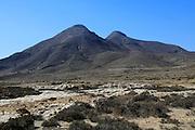 Los Frailes volcanoes from Los Escullos, Cabo de Gata national park, Almeria, Spain