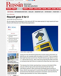 Russia Beyond the Headlines; Rosneft sign