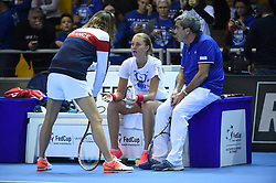 French Fed Cup player Kristina Mladenovic at practice with Amelie Mauresmo at the final round tie against Czech Republic at the Rhenus Arena, Strasbourg, France on november, 13, 2016. Photo by Corinne Dubreuil/ABACAPRESS.COM