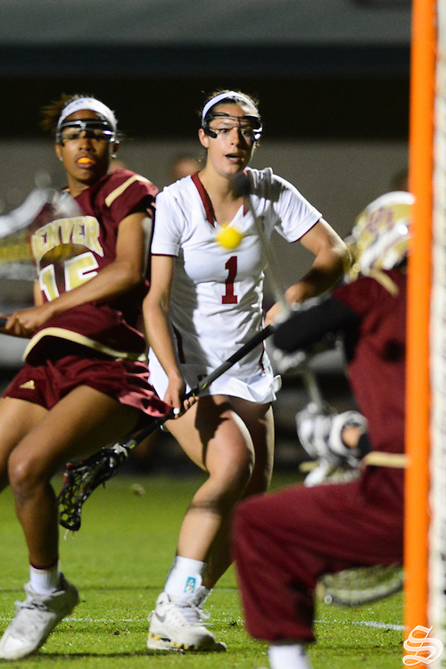 Junior attacker Elizabeth Cusick (1) . Photo by Sam Girvin.