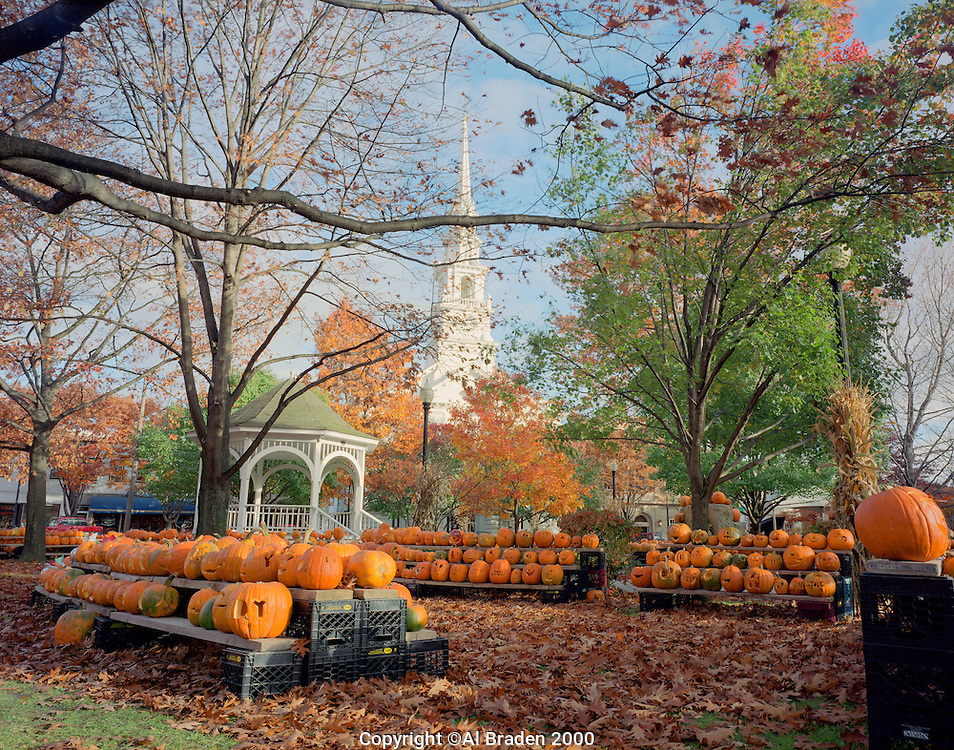 Church and Gazebo with Jack o Lanterns, Keene Pumpkin Festival