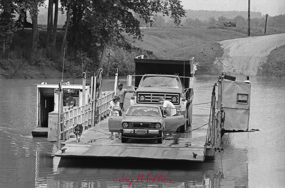 Rochester Ferry operating between Butler and Ohio counties in Kentucky.  The ferry crosses the Green River.  June 20, 1985