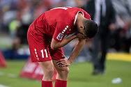 SYDNEY, AUSTRALIA - NOVEMBER 20: Lebanon player Omar Chaaban (11) in pain after damaging a hamstring at the international soccer match between Australia and Lebanon at ANZ Stadium in NSW, Australia. on November 20, 2018. (Photo by Speed Media/Icon Sportswire)