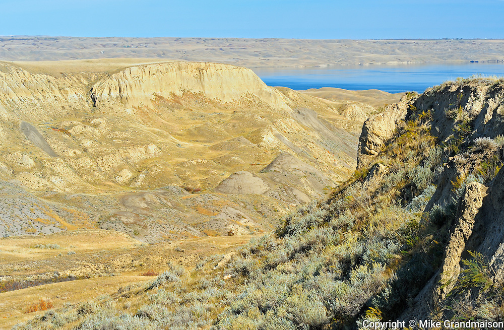 Badlands and Lake Diefenbaker<br /> near Beechy<br /> Saskatchewan<br /> Canada