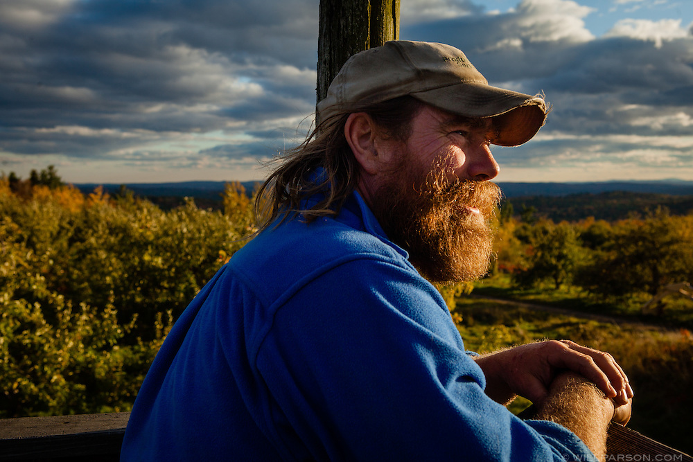 Harry Weiser, owner of Hackleboro Orchard, in Canterbury, New Hampshire, is pictured on an observation deck at his orchard on Friday, October 18, 2013.