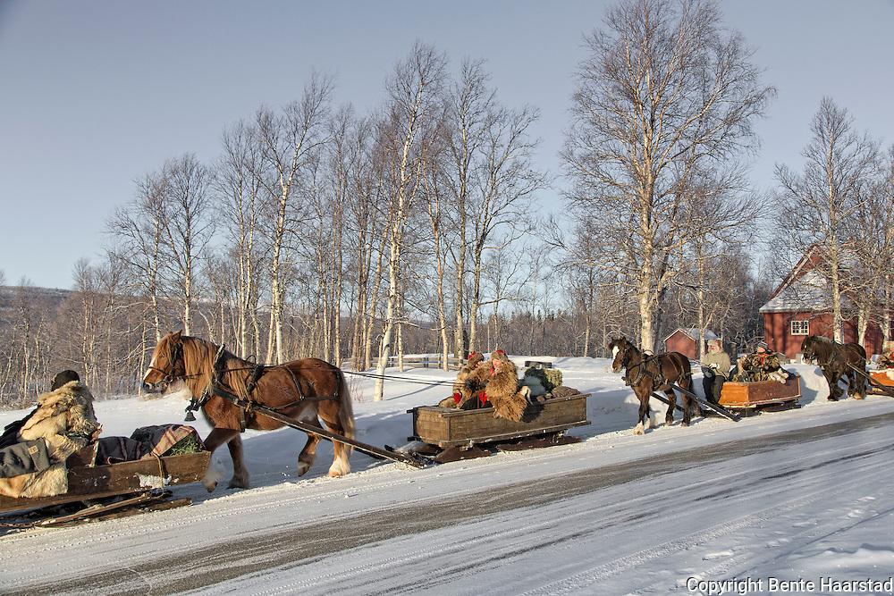 I 2016 er det 20. gang lasskjørerne fra Tydal tar turen til Rørosmartnan. Turen over fjellet tar tre dager, og ved avreise var det 26 speikende kalde kuldegrader. Her passeres fjellbygda Stugudl.Tydalingen Oddmund Dyrhaug og selbyggen Per Morten Storhaug er blant veteranene i følget.