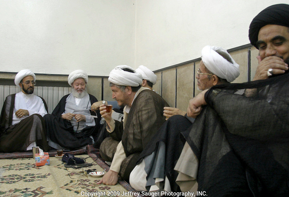 Shiite religious leaders gather before prayer at the Howza of Ayotollah Shirazi in the Iraqi area of Damascus, Syria, Wednesday, July 16, 2003. A Howza is like a seminary where men come to study. In this Shiite Howza, the philosophy of Ayotollah Shirazi is taught. As with all Shiite, advocacy of non-violence is the pre-eminent rule. Hundreds of thousands of Iraqi Shiite settled in Syria after the Gulf War and their uprising against Saddam Hussein in 1991.