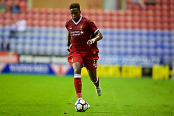 WIGAN, ENGLAND - Friday, July 14, 2017: Liverpool's Divock Origi in action against Wigan Athletic during a preseason friendly match at the DW Stadium. (Pic by David Rawcliffe/Propaganda)