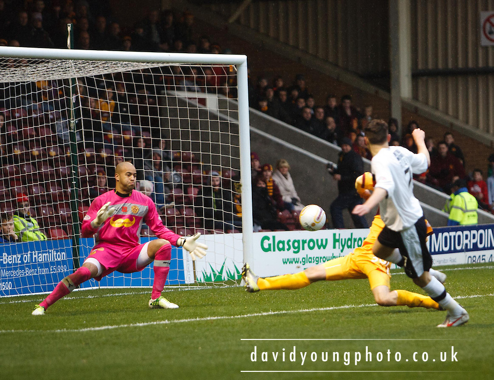 Dundee's Nicky Riley  opens the scoring - Motherwell v Dundee at Fir Park in the Clydesdale Bank Scottish Premier League.. - © David Young - www.davidyoungphoto.co.uk - email: davidyoungphoto@gmail.com