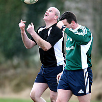 Kieran Kelleher celebrates his try during the Clare Gardai V Limerick Leprachauns rugby match in Ennis on Saturday.<br /><br />Photograph by Eamon Ward