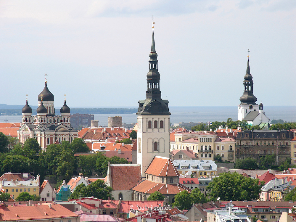 Old Town Tallinn Skyline with Church Towers in Estonia