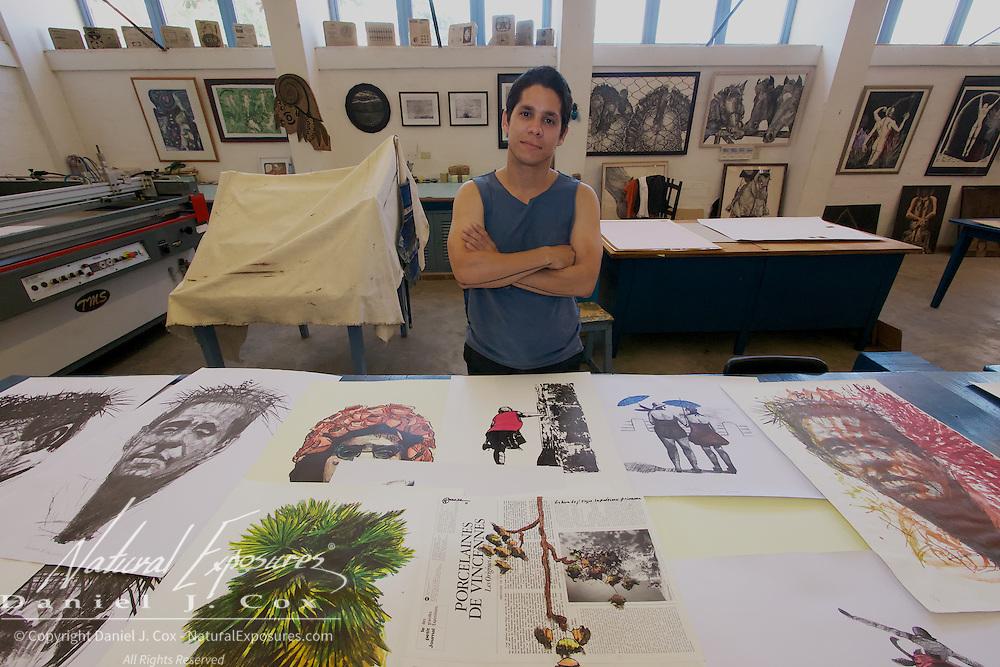 A young artist at the Cuban School of Art, Havana, Cuba.