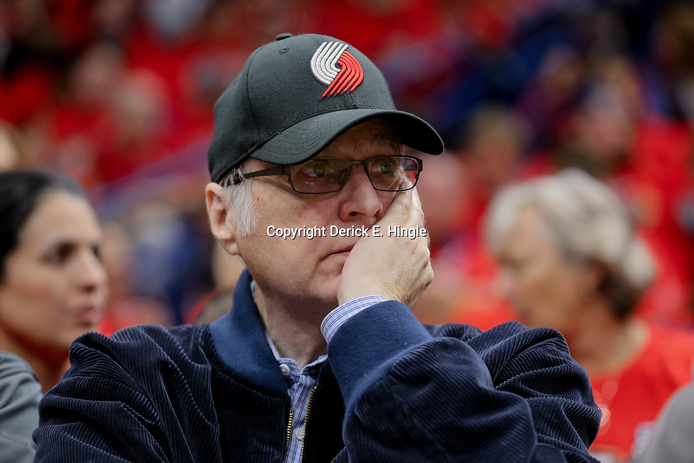 Apr 21, 2018; New Orleans, LA, USA; Portland Trail Blazers owner Paul Allen watches from courtside during the second quarter in game four of the first round of the 2018 NBA Playoffs against the New Orleans Pelicans at the Smoothie King Center. Mandatory Credit: Derick E. Hingle-USA TODAY Sports