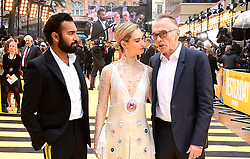 Hamish Patel (left), Lily James and Danny Boyle (right) attending the Yesterday UK Premiere held in London, UK.