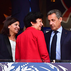 (L-R) Mayor of Paris Anne Hidalgo, mayor of Les Herbiers Veronique Besse and former French president Nicolas Sarkozy during the French Cup Final between Les Herbiers and Paris Saint Germain at Stade de France on May 8, 2018 in Paris, France. (Photo by Dave Winter/Icon Sport)
