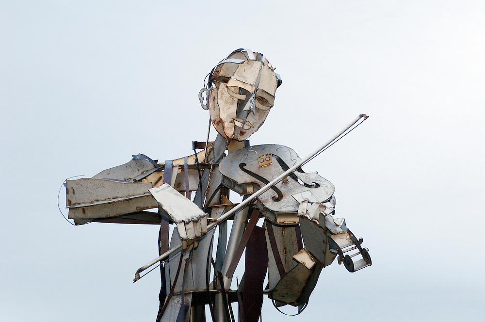 "One of the large metal figures in Maurice Harron's sculpture ""Let the Dance Begin"" between border towns of Strabane and Lifford."