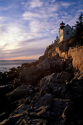 Bass Harbor, ME. Bass Harbor Head Light. Sunset.  Mt. Desert Island.  Lighthouses.