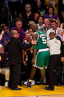 17 June 2010: Actor Jack Nicholson speaks to forward Kevin Garnett of the Boston Celtics after Garnett falls into the crowd while playing against the Los Angeles Lakers during the first half of the Lakers 83-79 championship victory over the Celtics in Game 7 of the NBA Finals at the STAPLES Center in Los Angeles, CA.