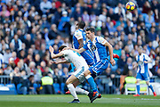 Real Madrid's Spanish forward Borja Mayoral heads the ball during the Spanish championship Liga football match between Real Madrid CF and RC Deportivo on January 21, 2018 at Santiago Bernabeu stadium in Madrid, Spain - Photo Benjamin Cremel / ProSportsImages / DPPI