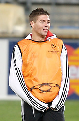 MARSEILLE, FRANCE - Monday, December 10, 2007: Liverpool's captain Steven Gerrard MBE training at the Stade Velodrome ahead of the final UEFA Champions League Group A match against Olympique de Marseille. Liverpool must win to progress to the knock-out stage. (Photo by David Rawcliffe/Propaganda)