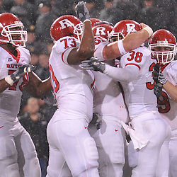 Oct 23, 2009; West Point, N.Y., USA; Rutgers running back Joe Martinek (38) celebrates his first half touchdown run with teammates during Rutgers' 27 - 10 victory over Army at Michie Stadium.