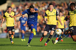 Leonardo Ulloa of Leicester City shoots at goal - Mandatory byline: Jason Brown/JMP - 19/07/2016 - FOOTBALL - Oxford, Kassam Stadium - Oxford United v Leicester City - Pre Season Friendly