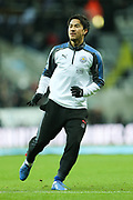 Shinji Okazaki (#20) of Leicester City warms up ahead of the Premier League match between Newcastle United and Leicester City at St. James's Park, Newcastle, England on 9 December 2017. Photo by Craig Doyle.